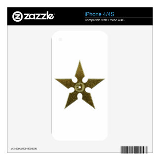 Gold Shuriken with Gold Dragon iPhone 4S Skin