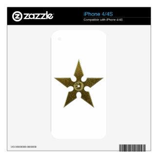 Gold Shuriken with Gold Dragon iPhone 4S Skin