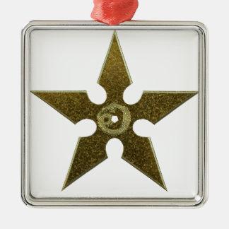 Gold Shuriken with Gold Dragon Metal Ornament