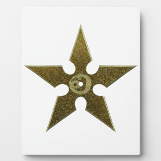 Gold Shuriken with Gold Dragon Plaque