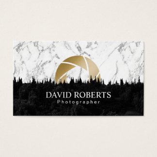 Gold Shutter Modern Marble Photography Business Card