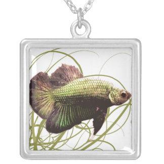 Gold Siamese Fighting Fish Pendant