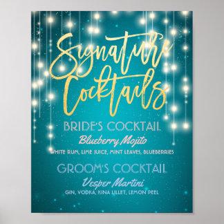 Gold Signature Cocktail Drink Menu Wedding Decor