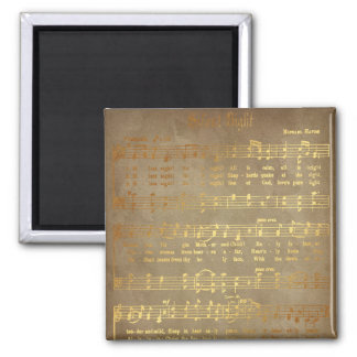 Gold Silent Night Christmas Carol Sheet Music Magnet