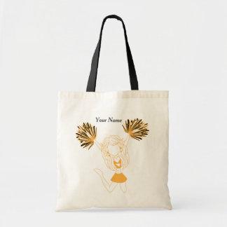 Gold Silhouette Cheerleader Girl Tote Bag
