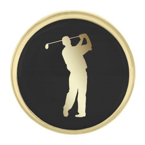 Gold Silhouette Golfer Gold Finish Lapel Pin