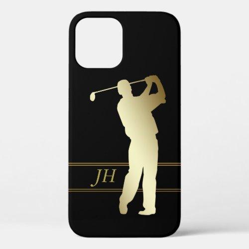Gold Silhouette Golfer Monogram Phone Case