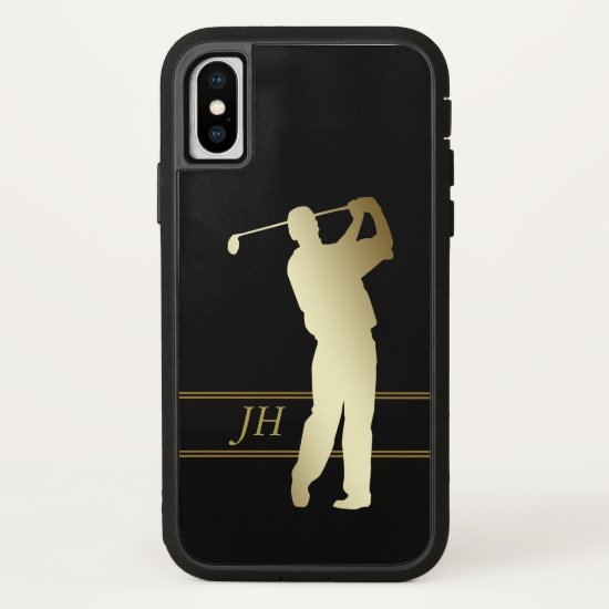 Gold Silhouette Golfer Monogram iPhone X Case