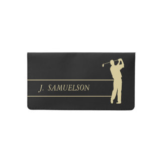 Gold Silhouette Golfer Monogram on Black Checkbook Cover