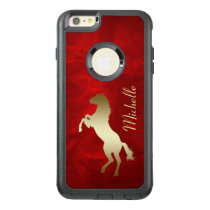 Gold Silhouette Horse on Red OtterBox iPhone 6/6s Plus Case