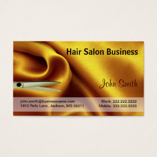 Gold Silk and Scissor Hair Salon Business Card