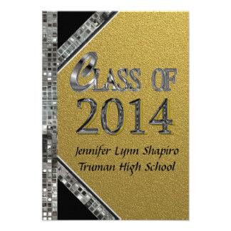 Gold Silver 2014 Graduation Invitations