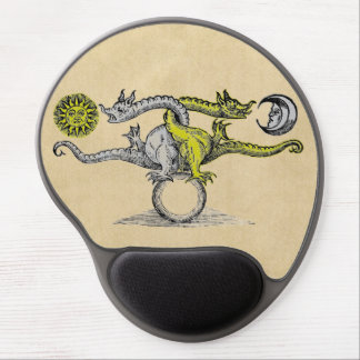 Gold & Silver Alchemy Dragons Gel Mouse Pad