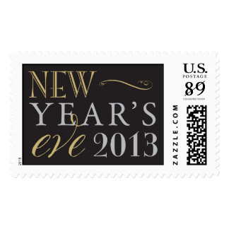 Gold, Silver and Black New Year's Eve 2013 Stamp
