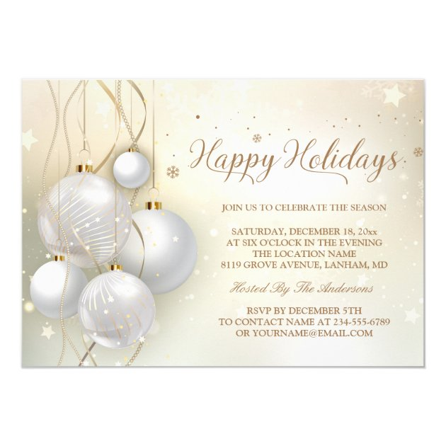 Gold Silver Baubles Stars Light Chic Holiday Party Card