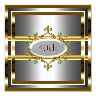 gold silver Birthday Party Flower Frame Card