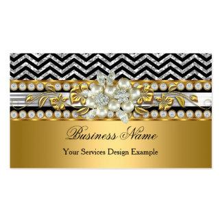 Gold Silver Black Chevron Diamond Pearl Floral Business Card