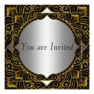 Gold Silver Black retro Party Invitation
