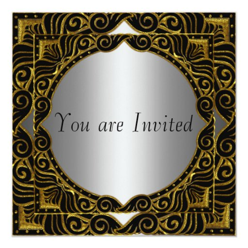 Gold Silver Black retro Party Invitation