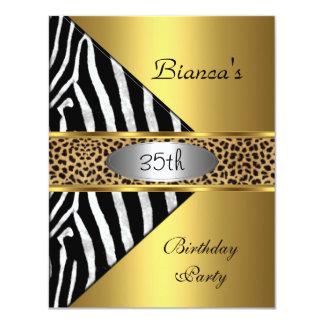 "Gold Silver Black Zebra Leopard 35th Birthday 4.25"" X 5.5"" Invitation Card"