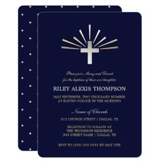 Gold Silver & Blue Baptism Invitation