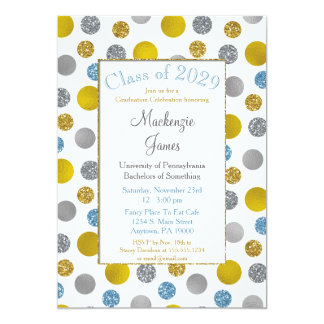 Gold Silver Blue Dots Graduation Invitation