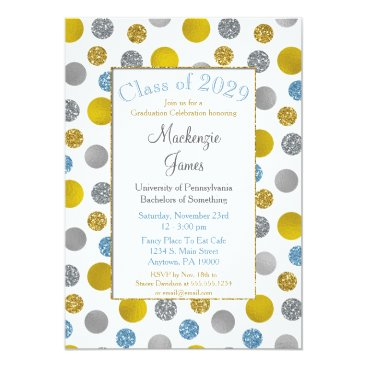 Professional Business Gold Silver Blue Dots Graduation Invitation