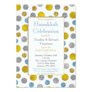 Gold Silver Blue Dots Hanukkah Invitation