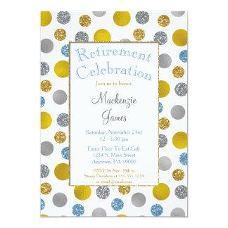Gold Silver Blue Dots Retirement Invitation