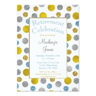 Lawyer Themed Gold Silver Blue Dots Retirement Invitation