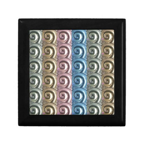 Gold Silver Blue Pink Colors Metal Swirl Pattern Jewelry Boxes
