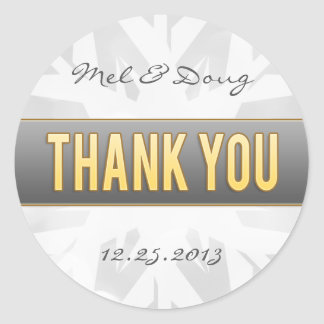 Gold & Silver Bride & Groom Snowflake Thank You Classic Round Sticker