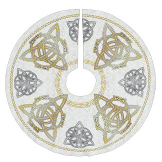 Gold & Silver Celtic Knots & Tri-Quatras on Damask Brushed Polyester Tree Skirt