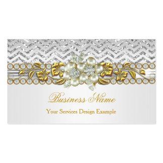 Gold Silver Chevron White Diamond Pearl Floral Business Card