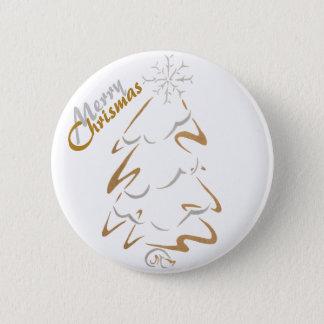 Gold & Silver Chrismas Tree Pinback Button