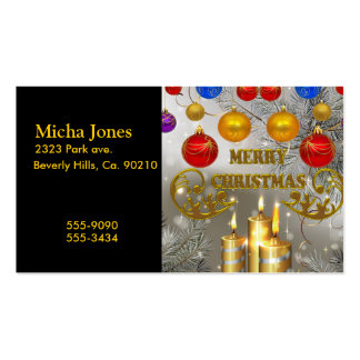 Gold & Silver Christmas Candles & Colorful Bulbs Double-Sided Standard Business Cards (Pack Of 100)