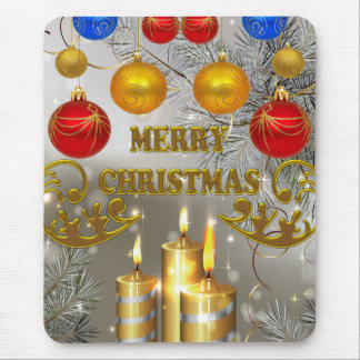 Gold & Silver Christmas Candles & Colorful Bulbs Mouse Pad