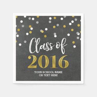 Gold Silver Confetti Class of 2016 Graduation Napkin