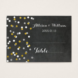 Gold Silver Confetti Table Place Setting Cards