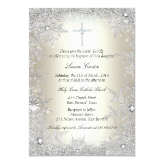 Gold Silver Crystal Snowflake Baptism/Christening Cards