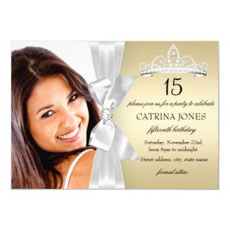 Gold Silver Diamond Bow & Tiara Quinceanera Invite