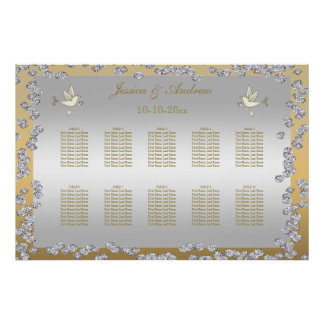 Gold & Silver Diamonds & Doves Seating Chart