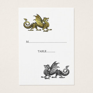 Gold Silver Dragon Wedding Place Card