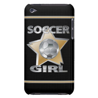 Gold Silver effect soccer girl star design Barely There iPod Case