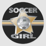 Gold Silver effect soccer girl star design Classic Round Sticker