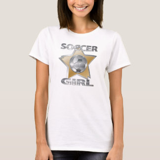 Gold Silver effect soccer girl star design T-Shirt