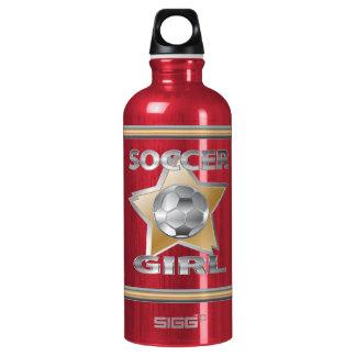 Gold Silver effect soccer girl star design Water Bottle