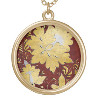 Gold & Silver Embossed Russian Folk Flowers - 2 Necklaces