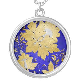 Gold & Silver Embossed Russian Folk Flowers - 3 Custom Necklace