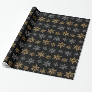 glitter snowflake wrapping paper zazzle